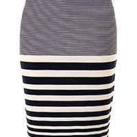 Nautical Escape Skirt | Navy Striped Knee-Length Pencil Skirts | Rickety Rack