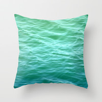 Teal Sea Throw Pillow by Lisa Argyropoulos
