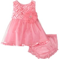 Rare Editions Baby Baby-Girls Newborn Basketweave Bodice To Mesh Dress