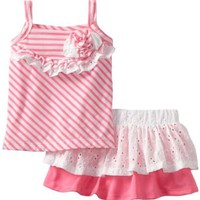 Nannette Baby-girls Knit Shirt & Woven Skirt with Attached Short Set (2 Piece)
