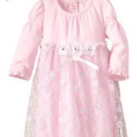 Nannette Baby-Girls Newborn Metallic Mesh Dress With Hat