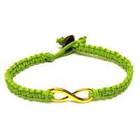 Lime Green Infinity Bracelet, Gold Tone Charm, Jewelry for Couples or Best Friends, Made to Order
