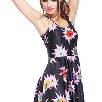 ROMWE Food Bomb Print Sleeveless Black Dress