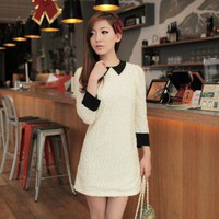 Korean Fashion Peaked Lapel Pleuche Fabric Zippered Short Dress White-Wholesale Women Fashion From Icanfashion.com