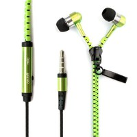 New Microphone / Mic / Fresh Green Earbuds Premium 3.5mm Tangle-Free Zipper Earphones