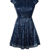 Allover Sequin Skater Dress - Navy