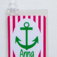 Anchor Bag Tag Anchor Baby Shower Favor Nautical Name Tag Nautical Party Favor Nautical Gift Tag Nautical Bag Tag Preppy Diaper Bag Tag
