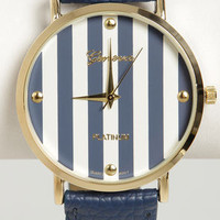 The Clock Stripes Twelve Navy Blue Watch