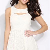 Lace Skater Dress with Keyhole Neckline