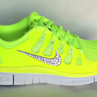 Nike Free Run 5.0 shoes Volt/GreySummit White with Swarovski crystal details
