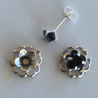 Black Silver Post Earring Set– Includes Black Cubic Zirconia Posts and Silver Flower Style Earring Jacket