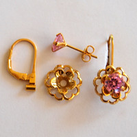 Pink Gold Earring Jacket Set – Includes Pink Cubic Zirconia Posts, Gold Flower Style Earring Jacket & Earring Convertibles