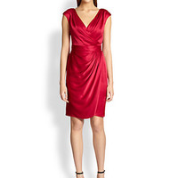 Faux-Wrap Satin Dress