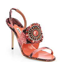 Ronda Jeweled Snakeskin Sandals