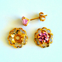Pink Gold Post Earring Set– Includes Pink Cubic Zirconia Posts and Gold Flower Style Earring Jacket