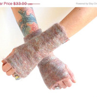 ON SALE Felted Fingerless Gloves - Felted Mohair Gloves - Fingerless Gloves - Hand Dyed - Dreamy