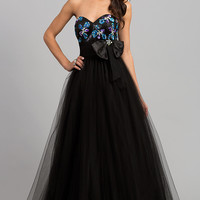 Black Strapless Sweetheart Ball Gown