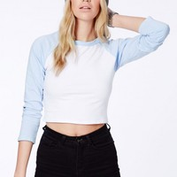 Missguided - Onora Blue Raglan Crop Top