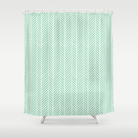 Herringbone Mint Inverse Shower Curtain by Project M