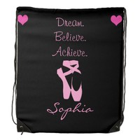 Dream. Believe. Achieve. Dance Drawstring Backpack