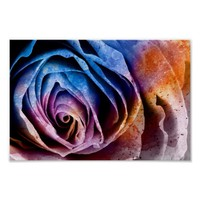 Colorful Acrylic Textured Rose Poster Art