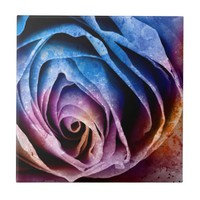 Colorful Acrylic Textured Rose Ceramic Tile