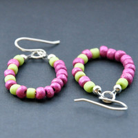Fuchsia Pink Earrings Seed Bead Lime Earrings by GueGueCreations