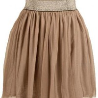 Brown Mini Skirt - Khaki Color Pleated Tulle Skirt | UsTrendy