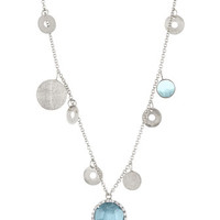 Pillar Blue Topaz & Diamond Charm Necklace