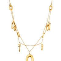 Olga 18 Karat Brushed Gold Oval Charm Necklace