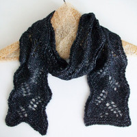 Black Silver Knitted Lace Scarf Black Spring Scarf Luxury Knits Boho Romantic Vintage Rocker Style