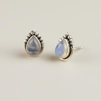 STERLING SILVER AND MOONSTONE TEARDROP STUD EARRINGS