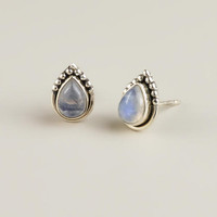 Sterling Silver and Moonstone Teardrop Stud Earrings - World Market