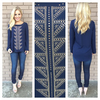 Navy & Gold Stud Aztec Long Sleeve Top