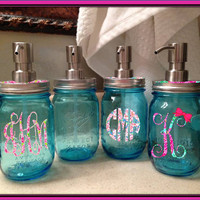 Lilly Pulitzer Monogram Accented Blue Mason Jar Soap Dispenser. Add Your Personalization. Pint 100 Anniversary Glass Wide Mouth Ball Jar