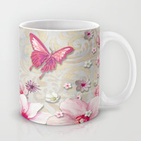 Whimsical Elegant Pink Flowers Butterfly Art Chic and Sophisticated Mug by Megan Aroon Duncanson ~ MADART