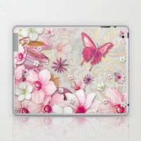 Whimsical Elegant Pink Flowers Butterfly Art Chic and Sophisticated Laptop & iPad Skin by Megan Aroon Duncanson ~ MADART