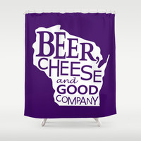 Purple and White Beer, Cheese and Good Company Wisconsin Graphic Shower Curtain by Zany Du Designs