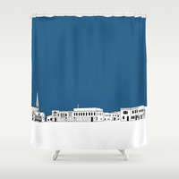 Whitewater Wisconsin Cityscape Illustration Cartoon Shower Curtain by Zany Du Designs