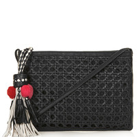 LEATHER WOVEN TASSEL CLUTCH BAG