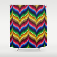 Bargello Impression 1 Shower Curtain by RVJ Designs