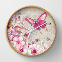 Whimsical Elegant Pink Flowers Butterfly Art Chic and Sophisticated Wall Clock by Megan Aroon Duncanson ~ MADART