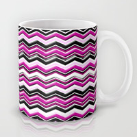 Colorful Pink Magenta Chevron Zig Zag Pattern Mug by Megan Aroon Duncanson ~ MADART