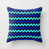 Digital Chevron Bold Blues and Aquas by MADART Throw Pillow by Megan Aroon Duncanson ~ MADART