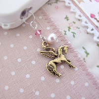 Pegasus Flying Horse Antique Gold with Swarovski Pearl Unicorn iPhone Earphone Galaxy S2 S3 Note2 Note3 Dust Plug Ipod Ipad Deco