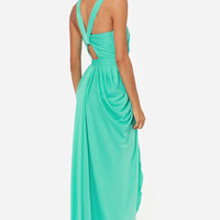 Bariano Grace Sea Green Maxi Dress
