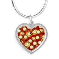 Circles Pile Pattern Silver Heart Necklace