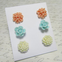 Flower Stud Set Light Blue Peach & Cream Rose Bouquet by EbonFlow