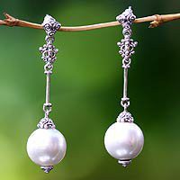 Pearl dangle earrings - Luxurious - NOVICA