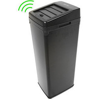 iTouchless 14-Gallon Trash Can with Infrared-Sensor Lid Opener, Black Steel